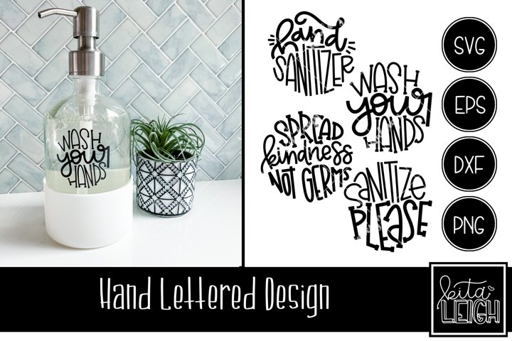 Wash Your Hands and Sanitize Hand Lettered Rounds