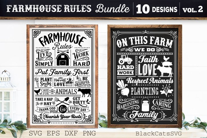 Farmhouse Rules Bundle SVG 10 designs vol 2