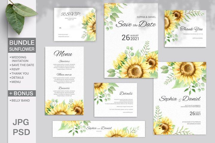 Sunflower Wedding Invitation Bundle. Editable template