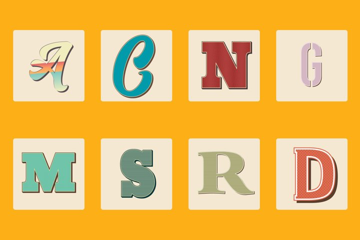 20 Retro Vintage Illustrator Text Styles