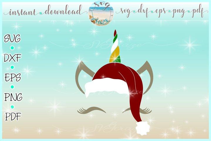 Unicorn Face Santa Hat Christmas Deer SVG DXF EPS PDF PNG example