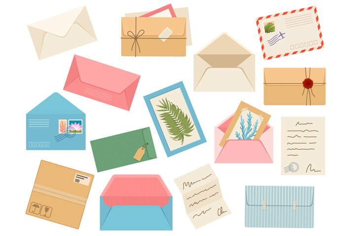Letters, cards and envelopes. Postcard, paper mail with post
