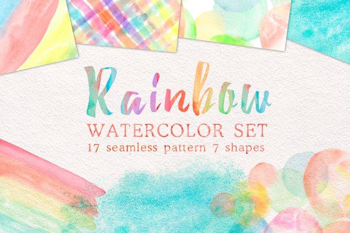 Rainbow watercolor seamless pattern