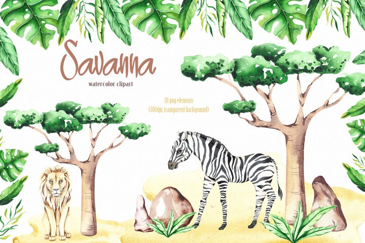 Savanna animal & Tropical clipart example