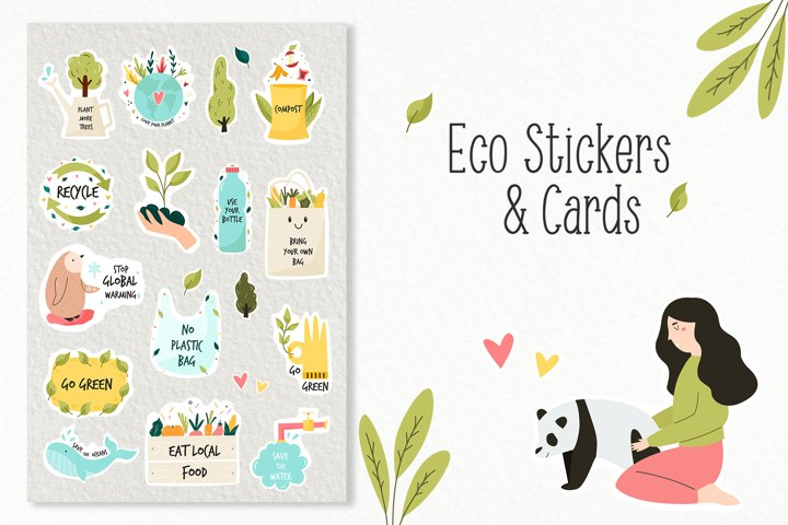 Eco - friendly set of cute vector stickers, cards and patter