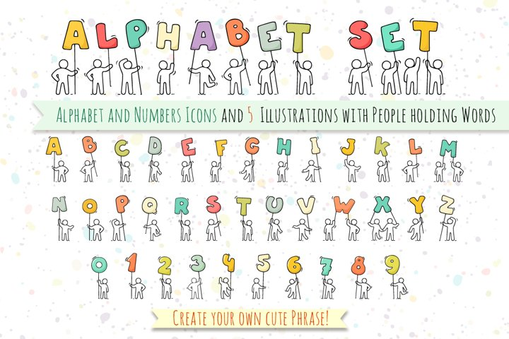 Alphabet and numbers set with People