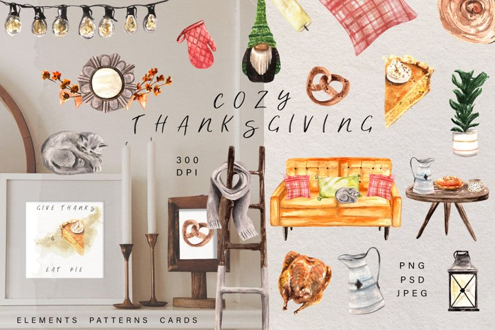 Cozy Thanksgiving Watercolor Clipart. Autumn home decoration
