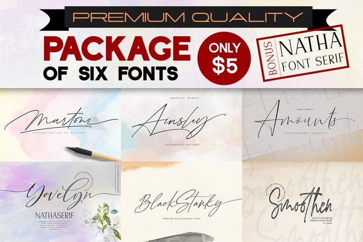 PACKAGE OF SIX FONTS