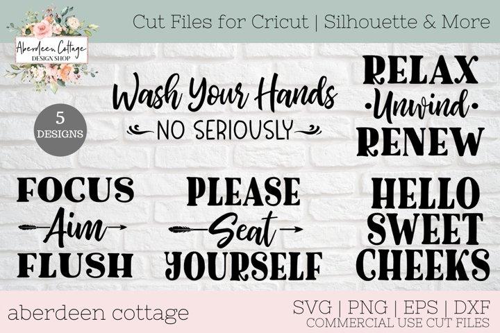 Bathroom Sign SVG Design Bundle | 5 Designs