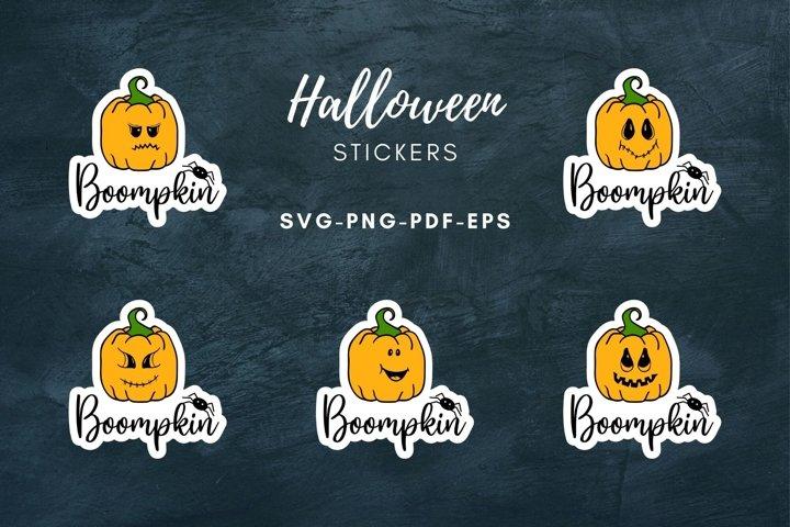Halloween stickers|Emoji Pumpkin Sticker|Print & Cut|SVG|PNG