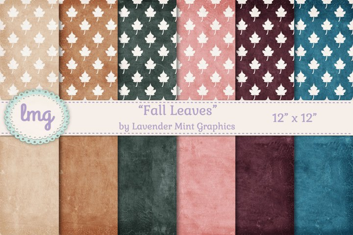 Fall and Autumn Leaves Paper in Teal, Burgundy, Pink, Green