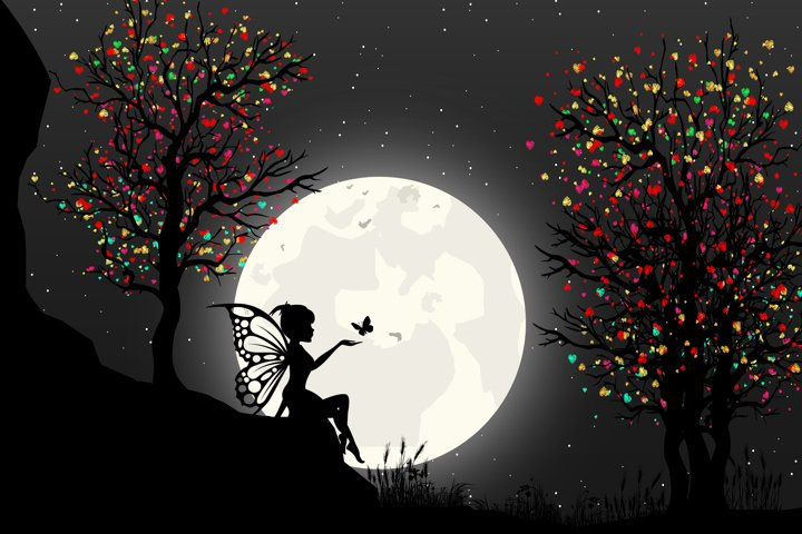cute fairy and moon silhouette