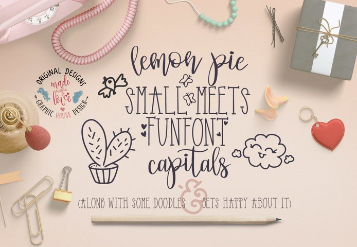 Lemon Pie Small and Funfont Capitals Font Duo Extra doodles
