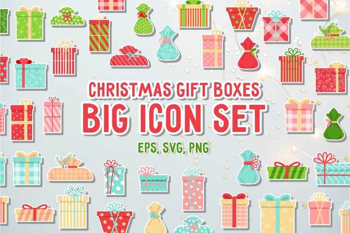 Christmas gift boxes. Big icon set. Colorful flat style.