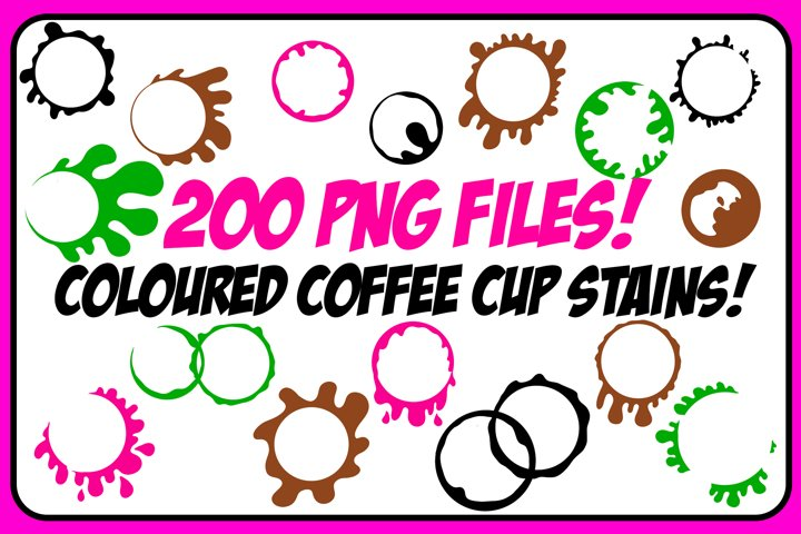 200 PNG BUNDLE! Coloured Coffee Tea Cup Mug Stain Drips