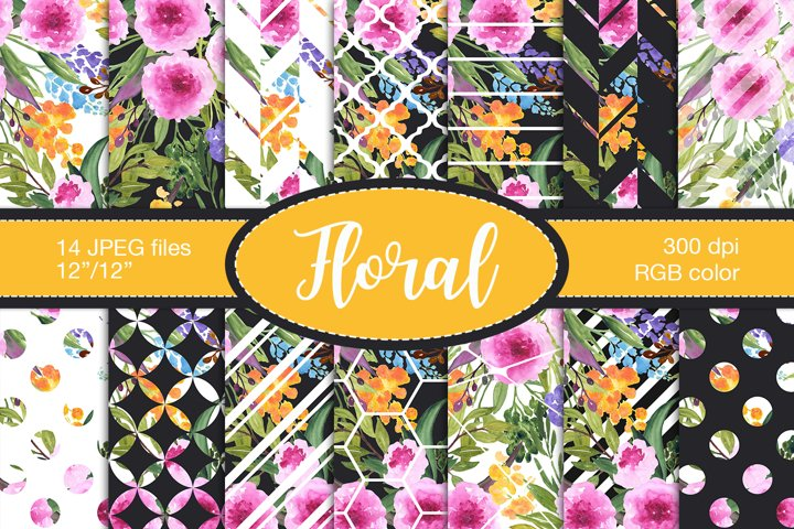 Watercolour floral digital paper, Summer patterns