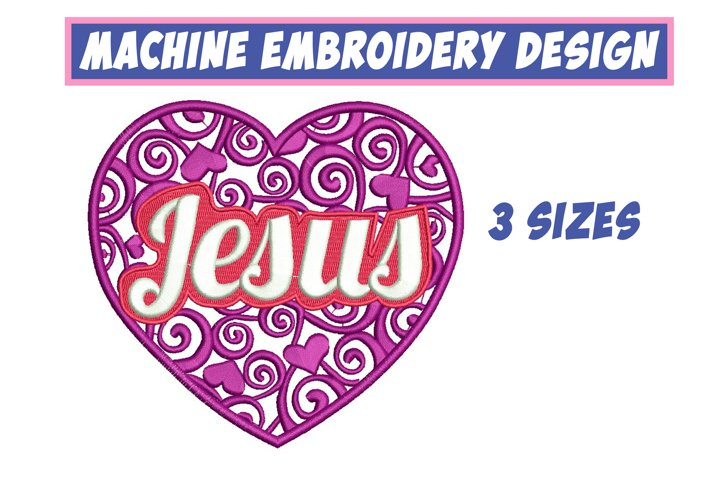 Jesus Lettering - machine embroidery design, 3 sizes