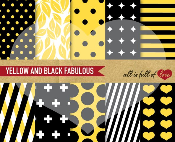 Black and Yellow Digital Paper Geometric Background Patterns