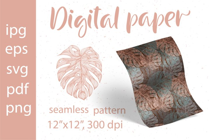 Tropical Leaves. Digital Paper SVG. Seamless pattern Monster