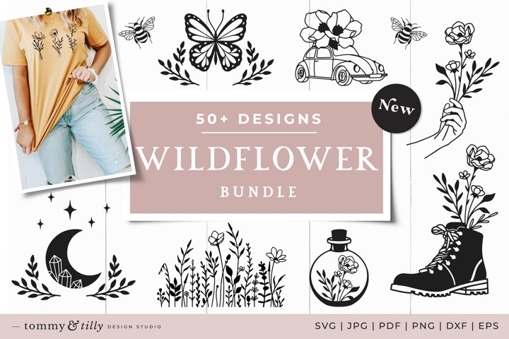 Wildflower SVG Bundle 50 Designs Cut Files