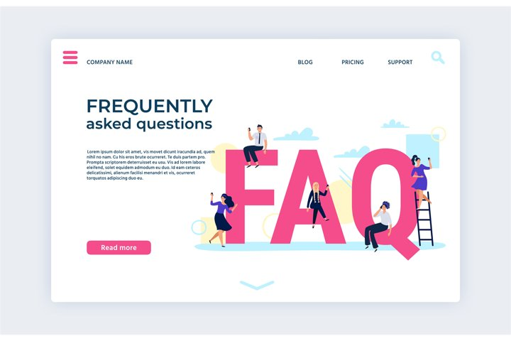 Frequently asked questions landing web page template