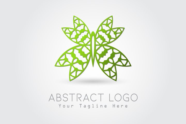 Logo Abstract Butterfly Green Color Design