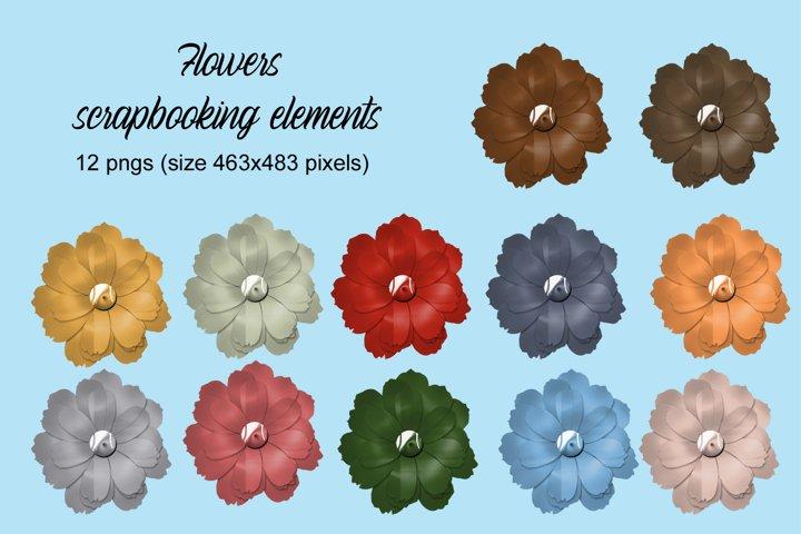 Flowers scrapbooking elements