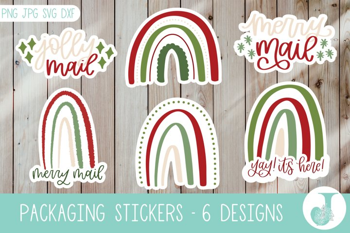 Packaging Sticker Pack, Christmas Stickers, Print then Cut