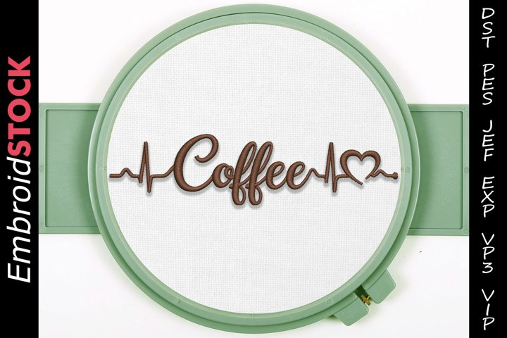 Coffee Heartbeat Embroidery Design