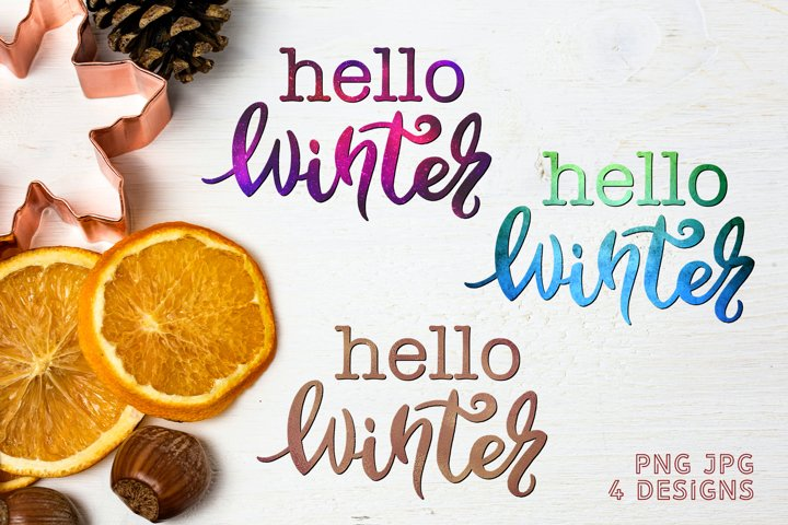 Sublimation Christmas PNG Quote Hello Winter