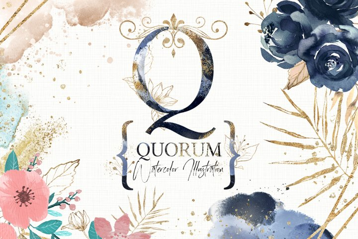 Quorum. Watercolor Elements  Letters gold with flowers