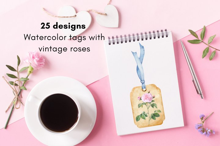 Watercolor Tags with Vintage Roses, Watercolor Floral Gift