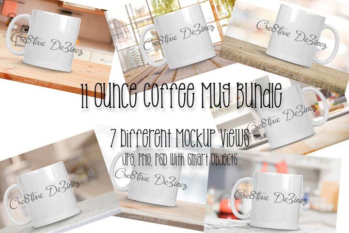 11 ounce Coffee Mug Bundle, Realistic Stock Photo Mock-Up