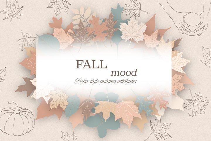 Fall / Leaves / Pumpkin / Vector / Clip art / Minimalist art