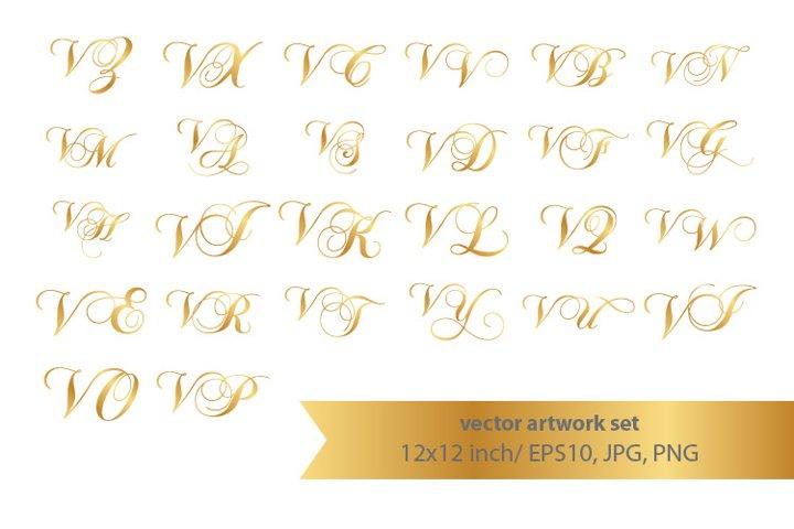 Calligraphic golden monogram set, letter V