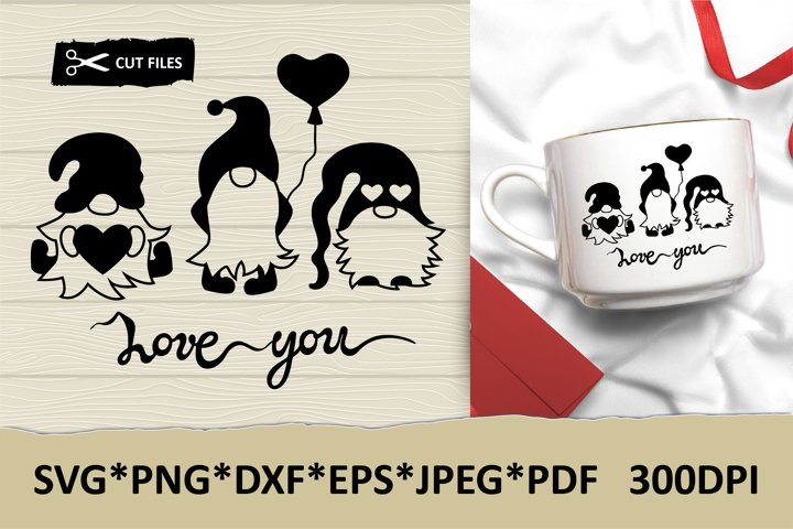 Valentine gnomes with Love You hand lettering sign, SVG file
