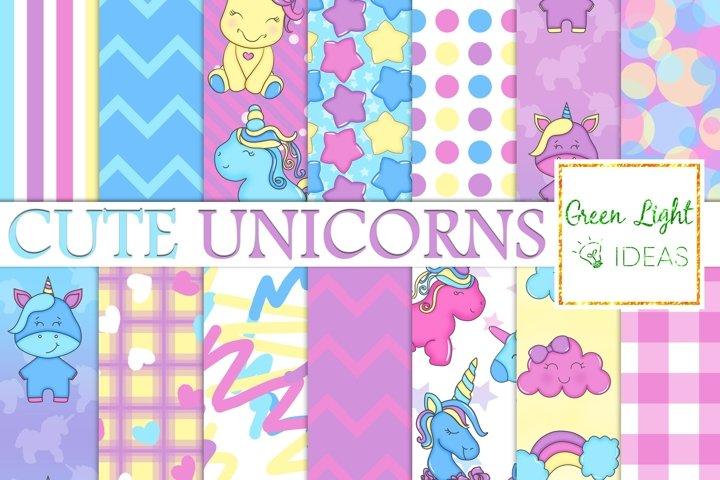 Unicorns Digital Papers, Cute Unicorns Party Backgrounds