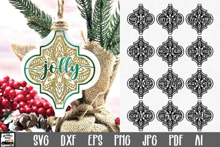 Arabesque Tile Christmas Ornaments SVG - Mandala Ornaments