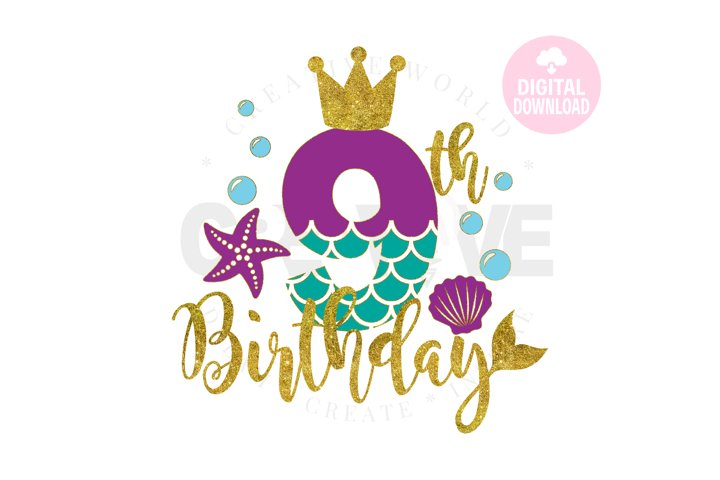 My 9th Birthday Mermaid SVG | Mermaid SVG | Mermaid Birthday