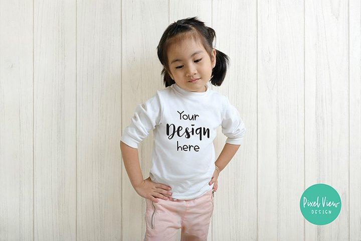 Kids White Long Sleeves Top Casual Tshirts Mockup