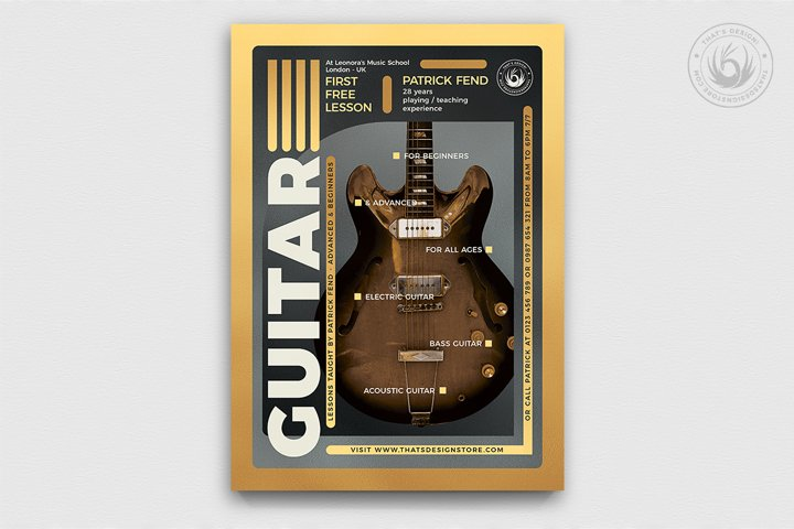 Guitar Lessons Flyer Template V5