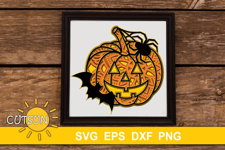 Halloween SVG | 3D Layered Jack O Lantern Mandala SVG