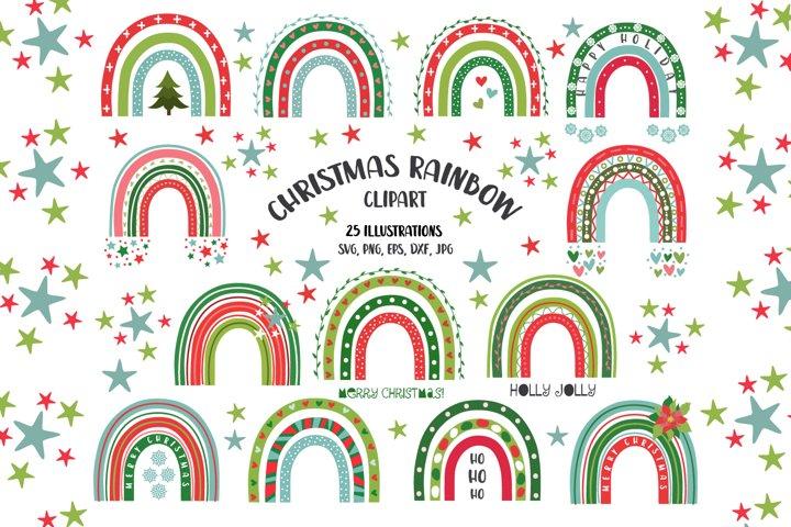 Christmas baby rainbows clipart svg Festive seamless pattern