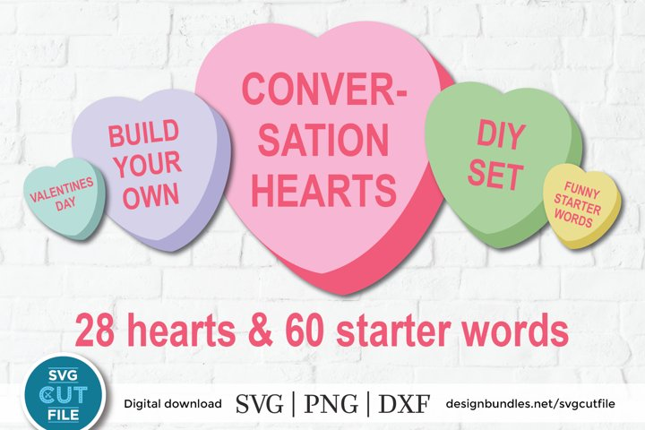 Conversation Hearts SVG, Valentines Day svg, diy set vday