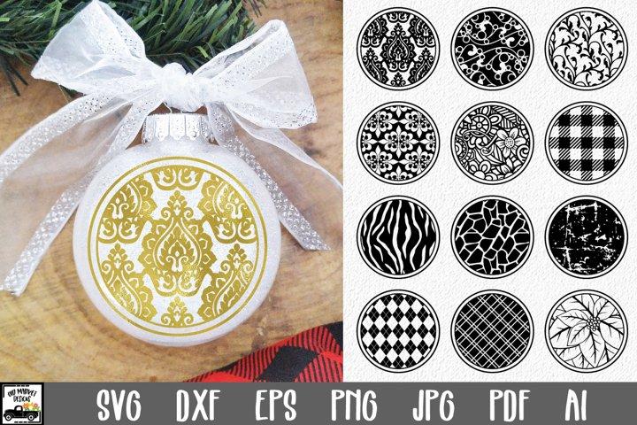 Round Christmas Ornament Bundle - 12 Fancy Christmas SVG