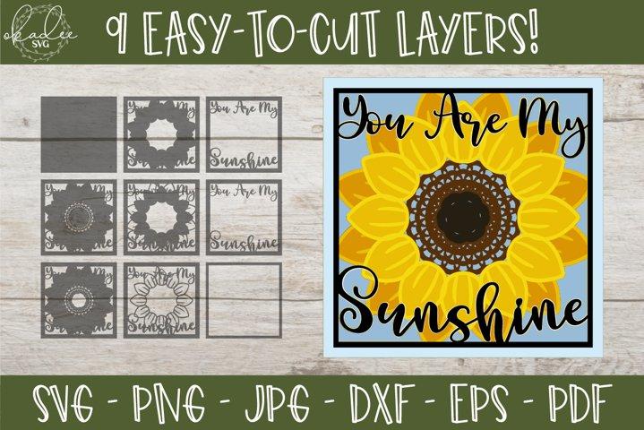 3D Mandala Sunflower SVG, Sunflower Shadowbox SVG