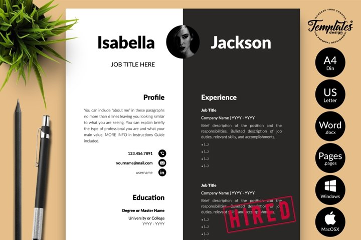 Modern Resume CV Template for Word & Pages Isabella Jackson