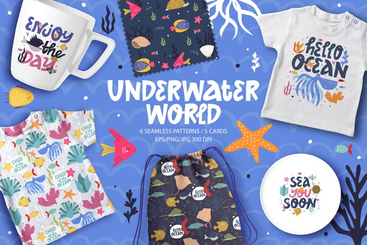 Underwater world. Oceans collection Digital papers and cards
