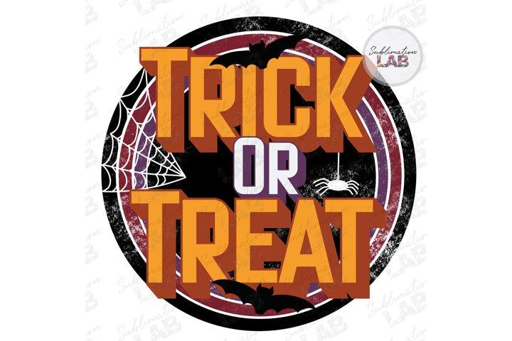 Trick or Treat Halloween Retro Vintage Sublimate Design Fall