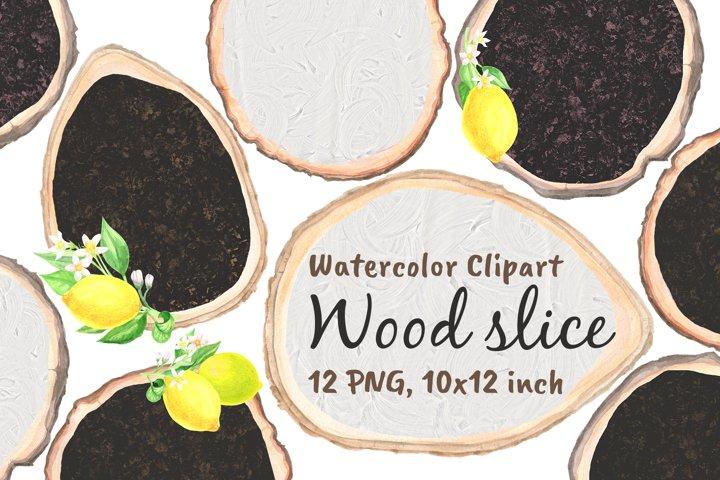 Wood Slice Chalkboard Lemon Watercolor Png
